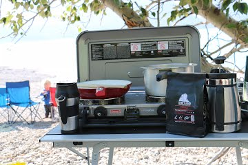Camping kitchen set up with Coleman stove