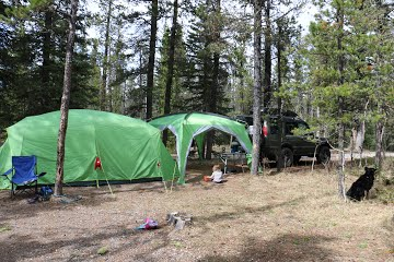 MEC Cabin 6 and Hootenanny camping set up