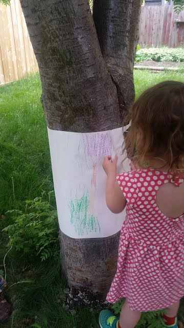 Tree Rubbing Outdoor Activity for Kids - great for toddlers, preschool and school aged kids. Uses Common household materials and easy to set up