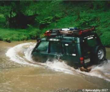 Land Rover Discovery going for a swim