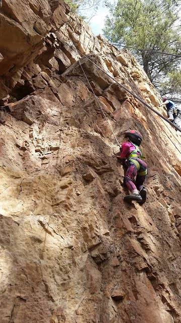 Sport climbing can be fun for the whole family including toddlers, there are several companies that make full body harnesses and tiny rock shoes