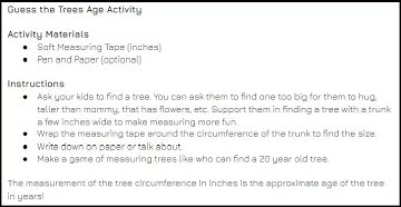 Guess the Trees Age Activity Instructions