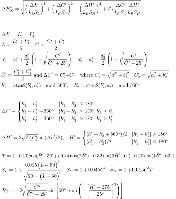 cie lab distance formula
