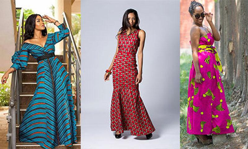 Modele de robe droite longue en pagne