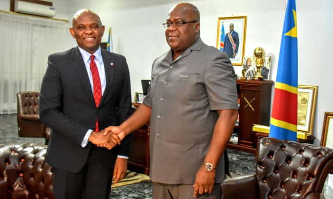 Felix Tshisekedi talks with Nigerian contractor, Tony Elumelu