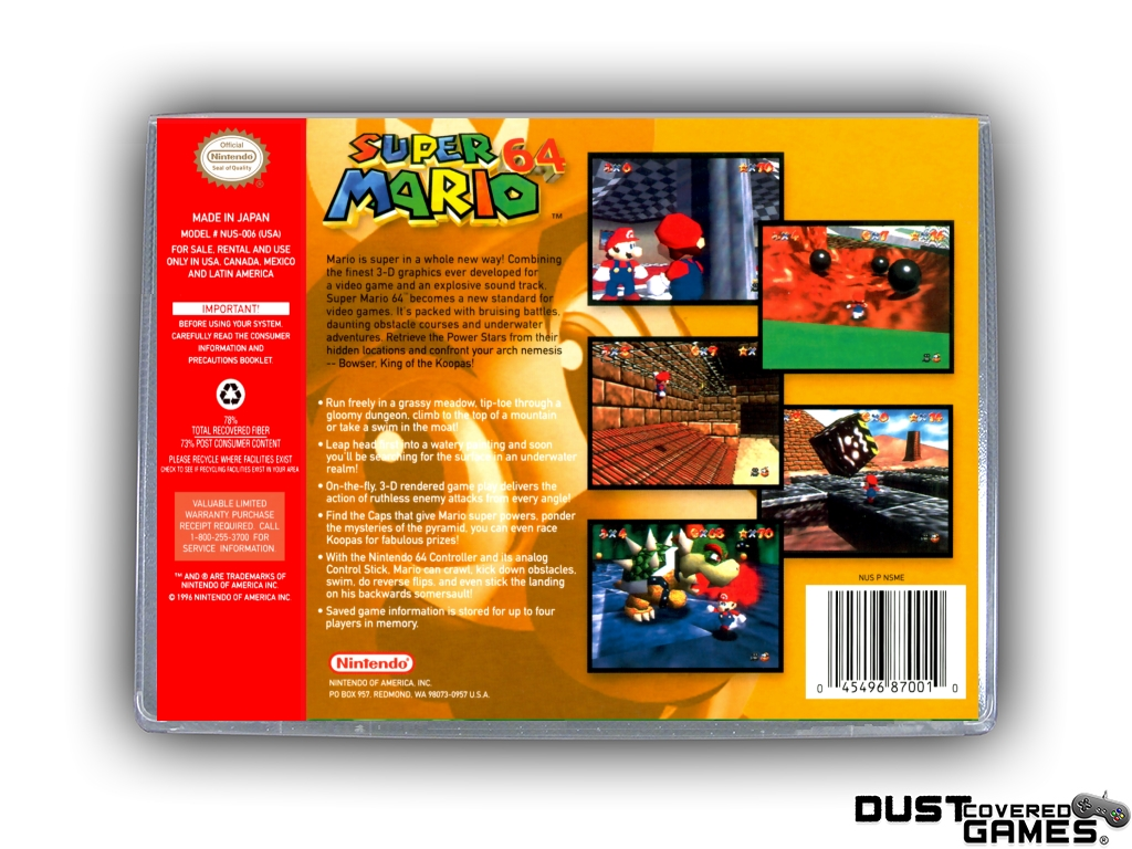 thumbnail 4 - Super-Mario-64-N64-Nintendo-64-Game-Case-Box-Cover-Brand-New-Pro-Quality