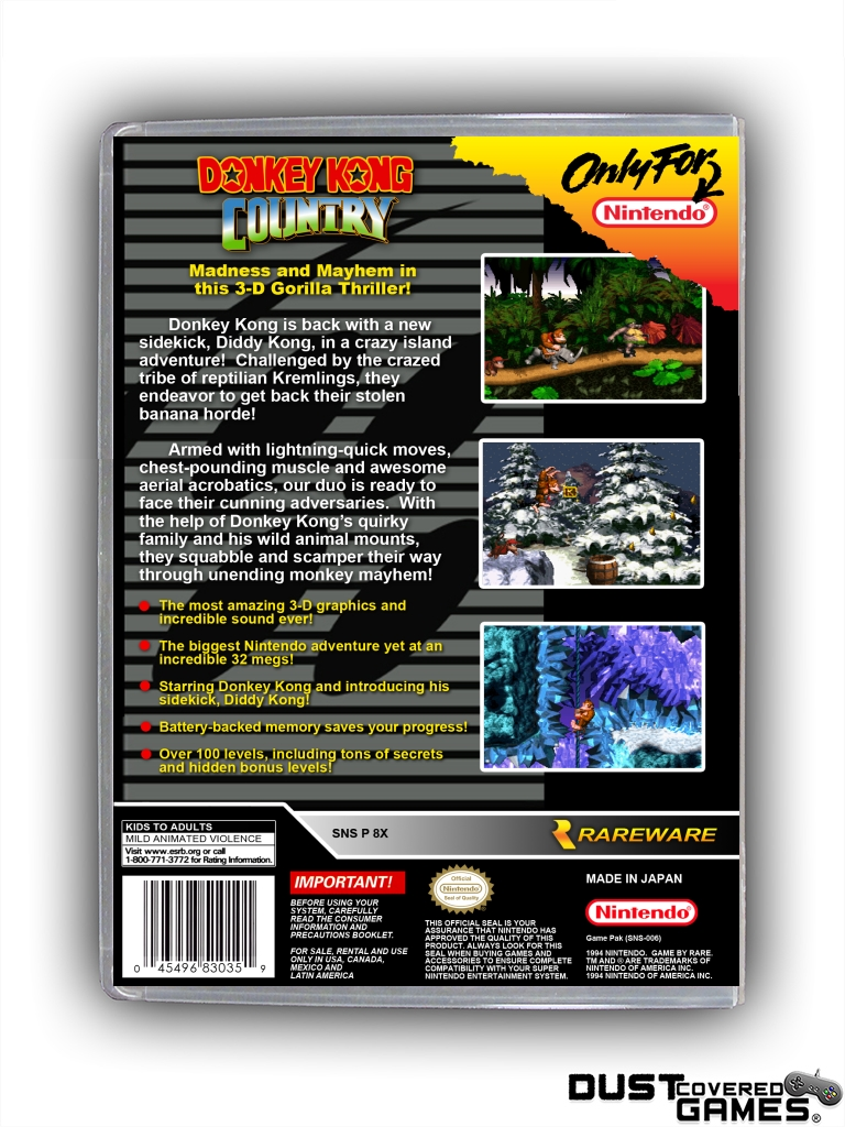 Donkey Kong Country Snes Super Nintendo Game Case Box Cover Brand