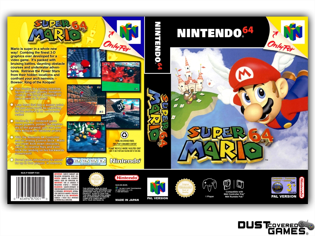 thumbnail 37 - Super-Mario-64-N64-Nintendo-64-Game-Case-Box-Cover-Brand-New-Pro-Quality