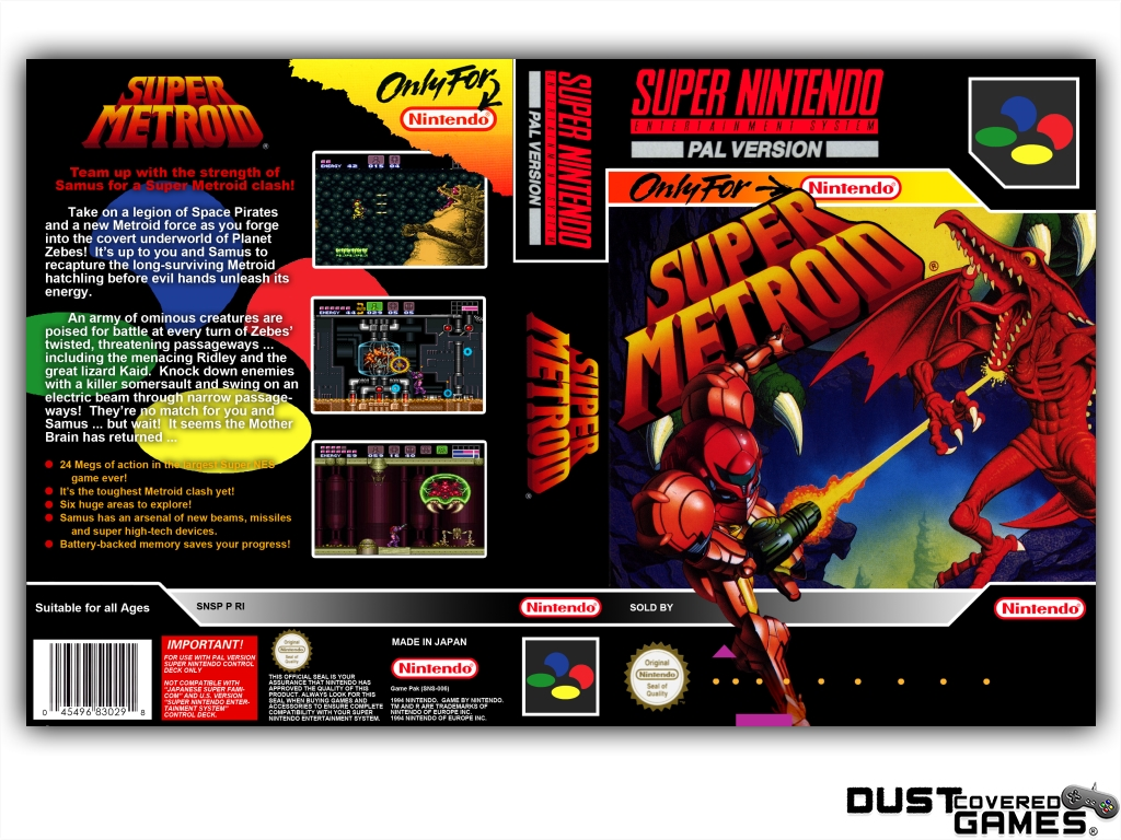 Details about Super Metroid SNES Super Nintendo Game Case Box Cover Brand  New Pro Quality!!!