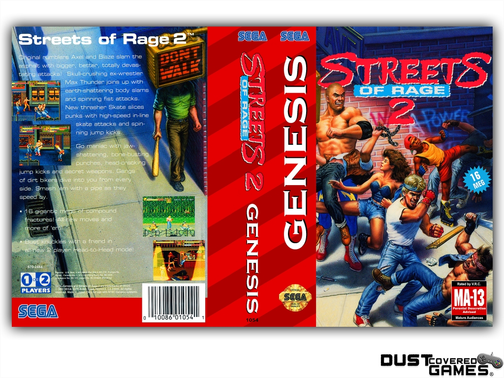 Streets Of Rage 2 Gen Genesis Game Case Box Cover Brand New