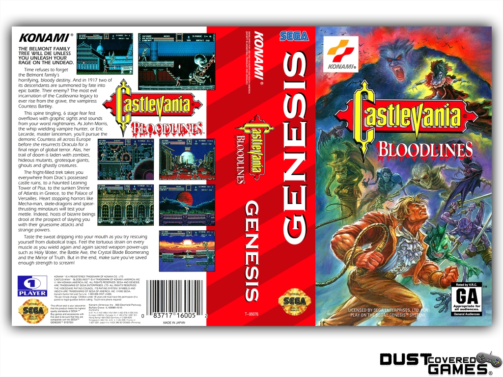 Castlevania-Bloodlines-Castlevania-The-New-Generation-GEN-Genesis-Game-Case thumbnail 5