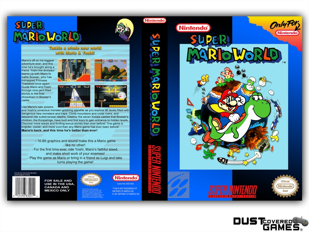 Details about Super Mario World SNES Super Nintendo Game Case Box Cover  Brand New Pro Quality!