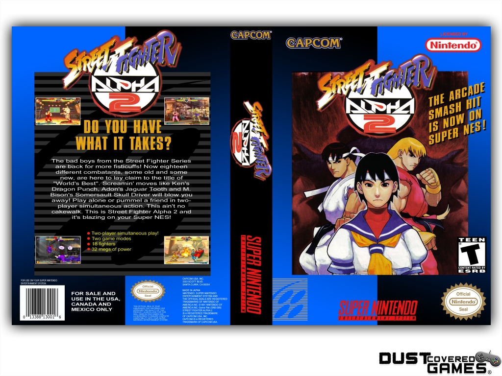 Street Fighter Alpha 2 Snes Super Nintendo Game Case Box Cover