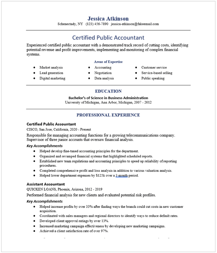 Accounting And Finance Resume Examples And Resume Samples