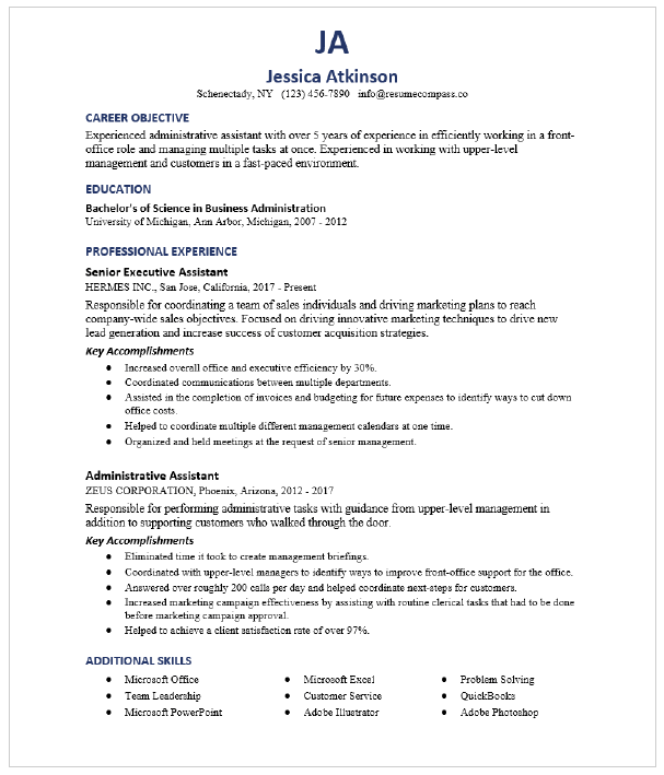 Administrative Assistant Resume Sample Resumecompass
