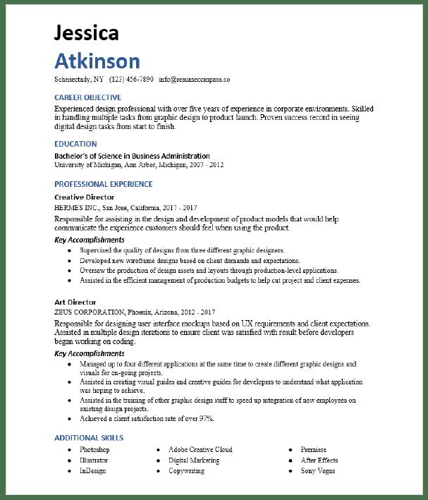 Art Director Resume Sample Resumecompass