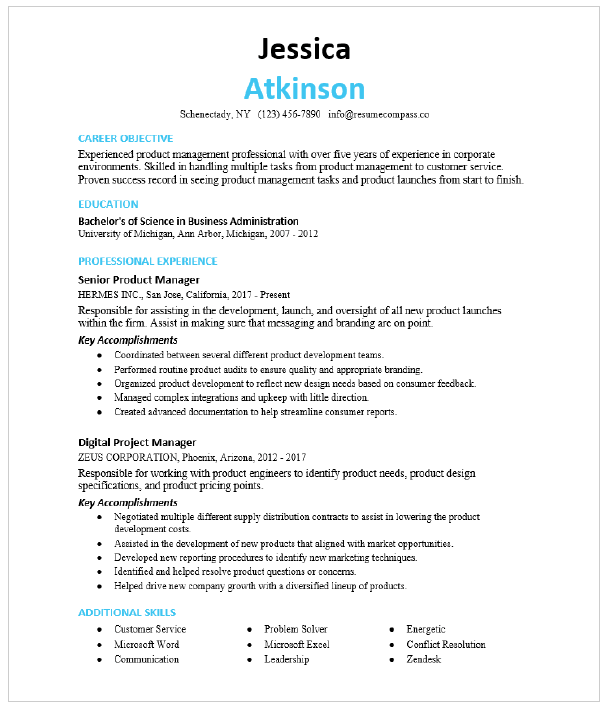 Assistant Product Manager Resume Sample Resumecompass