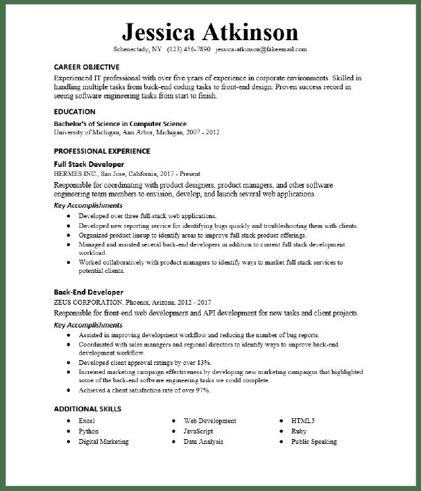 Back End Developer Resume Sample Resumecompass