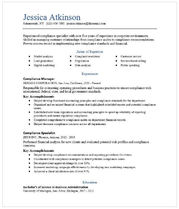 Compliance Manager Resume Sample Resumecompass