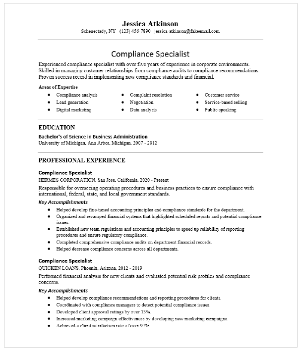 Compliance Specialist Resume Sample Resumecompass