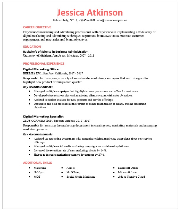 Content Marketing Manager Resume Sample Resumecompass