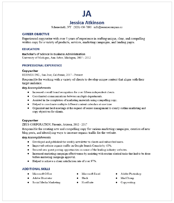 Content Writer Resume Sample Resumecompass