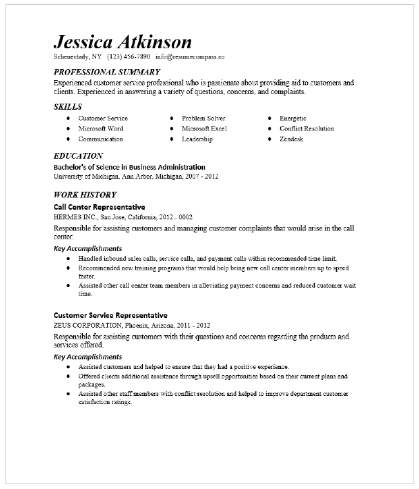 Customer Service Manager Resume Sample Resumecompass