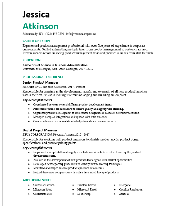 Project Manager Resume from storage.googleapis.com