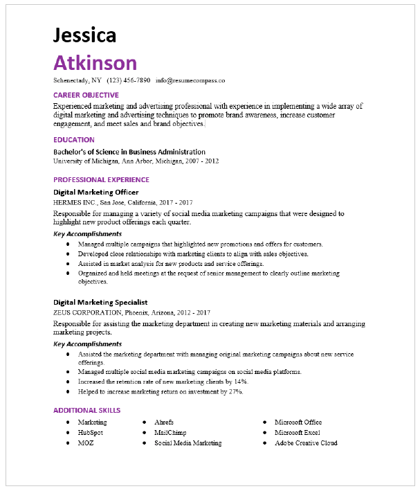 Email Marketing Manager Resume Sample Resumecompass