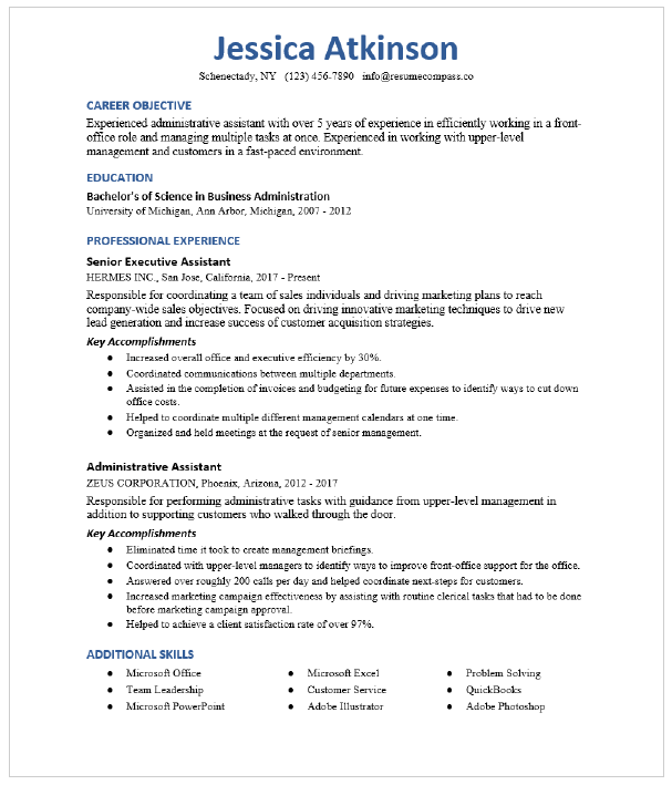 Executive Assistant Resume Sample Resumecompass