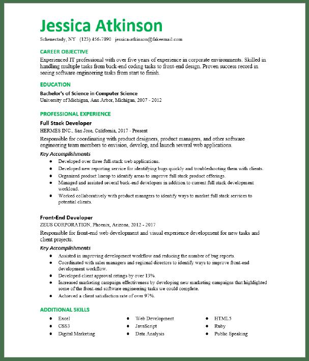 Front End Developer Resume Sample Resumecompass