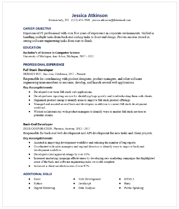 Full Stack Developer Resume Sample Resumecompass