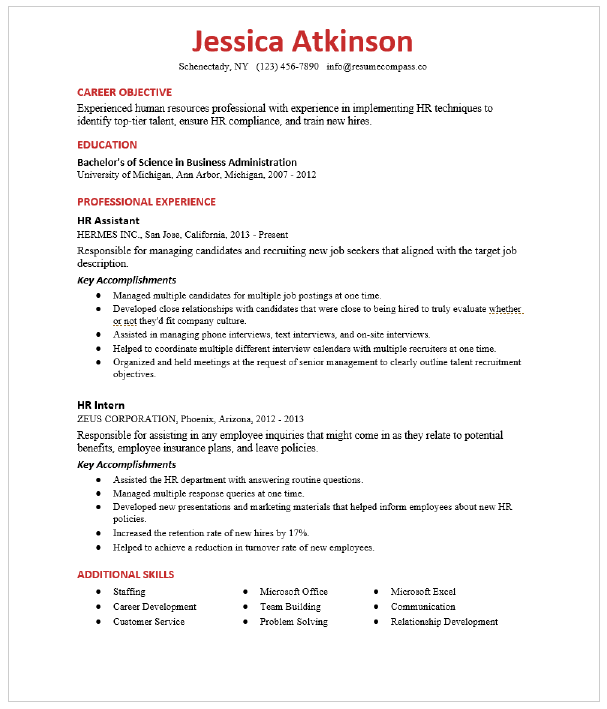 Human Resources Hr Assistant Resume Sample Resumecompass