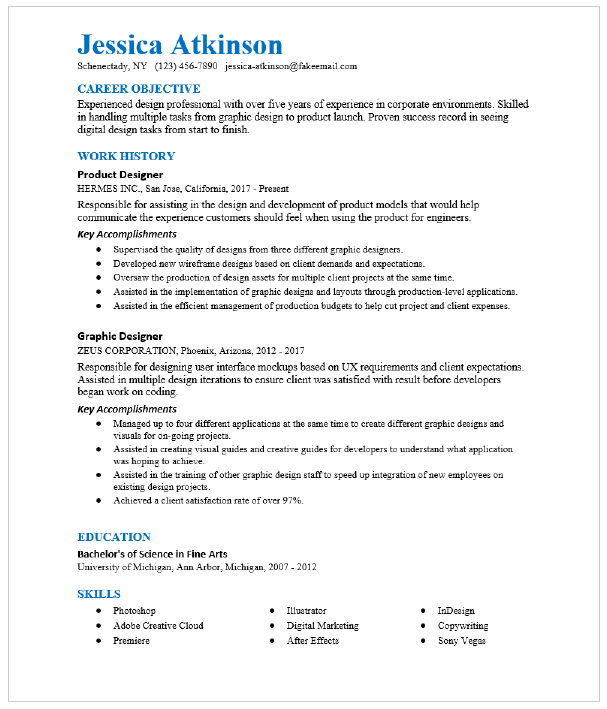 Arts Design Entertainment And Media Resume Examples And Resume Samples Resumecompass