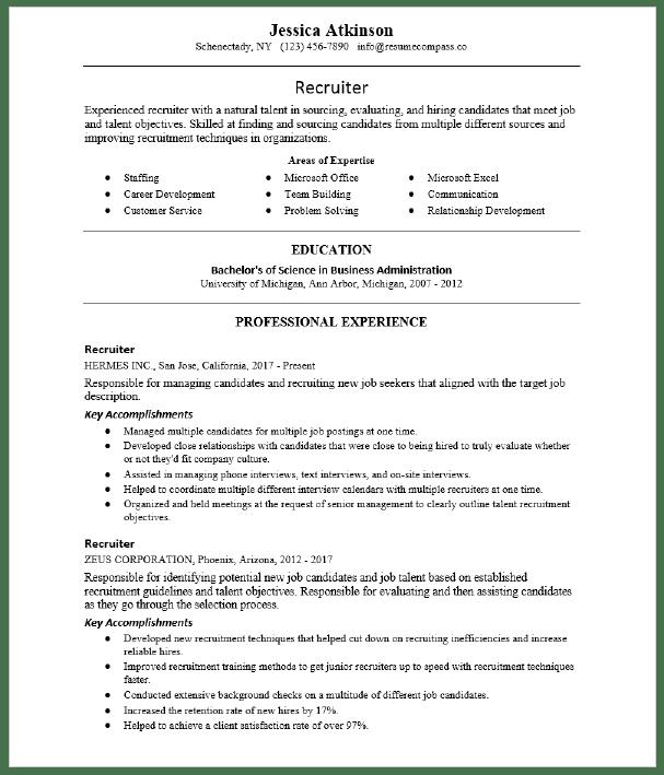 Junior Recruiter Resume Sample Resumecompass