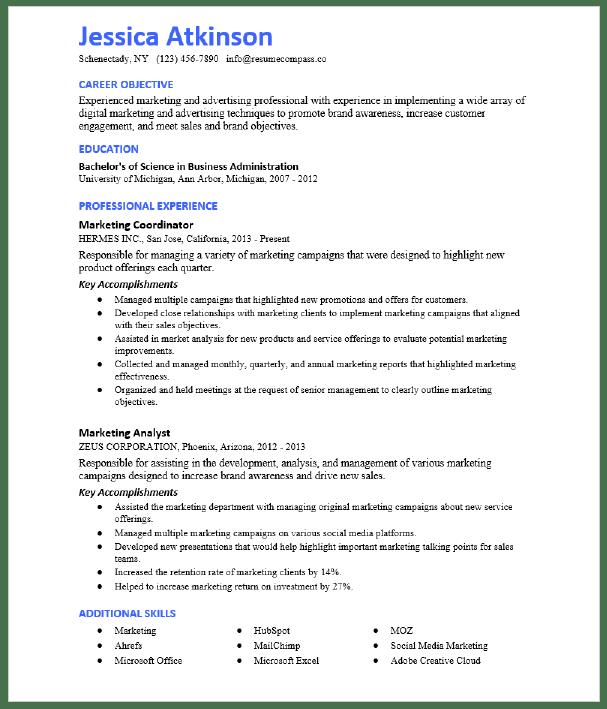 Marketing Coordinator Resume Sample Resumecompass