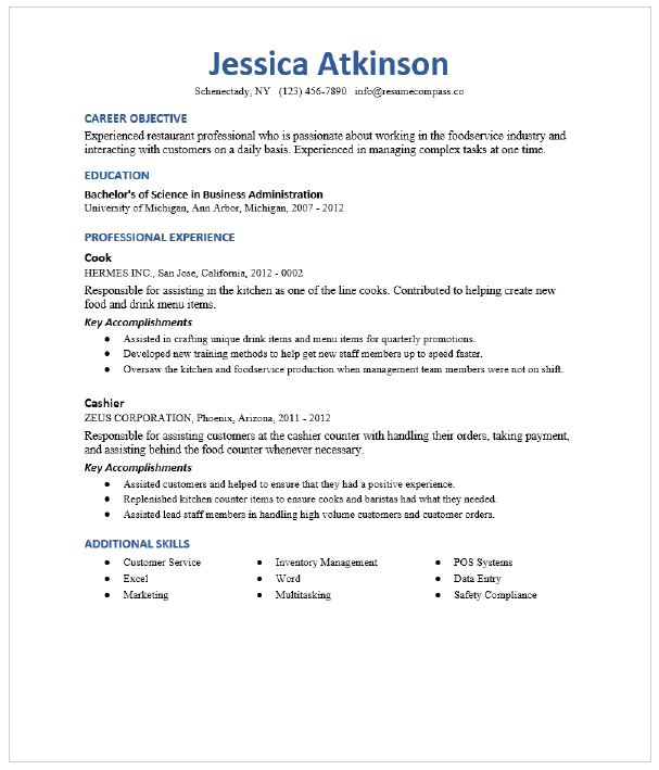 Pantry Cook Resume Sample Resumecompass