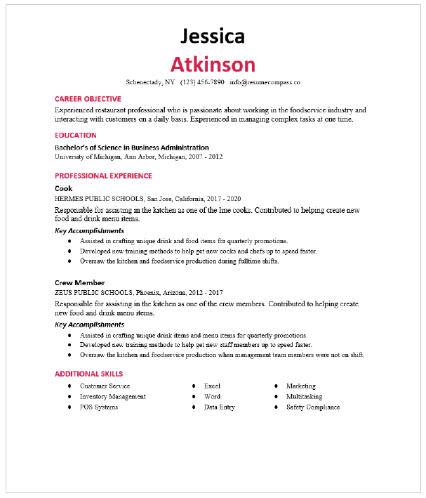 Pastry Chef Resume Sample Resumecompass
