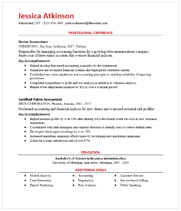 Senior Accountant Resume Sample Resumecompass