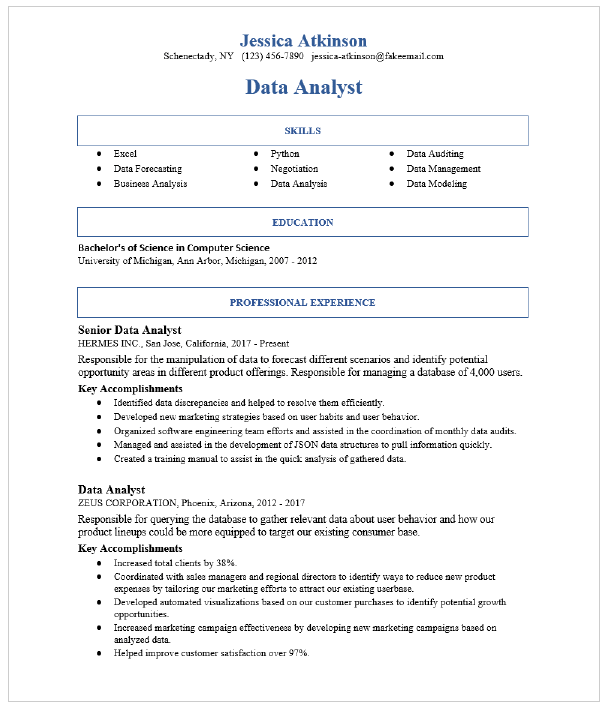 Senior Data Analyst Resume Sample Resumecompass