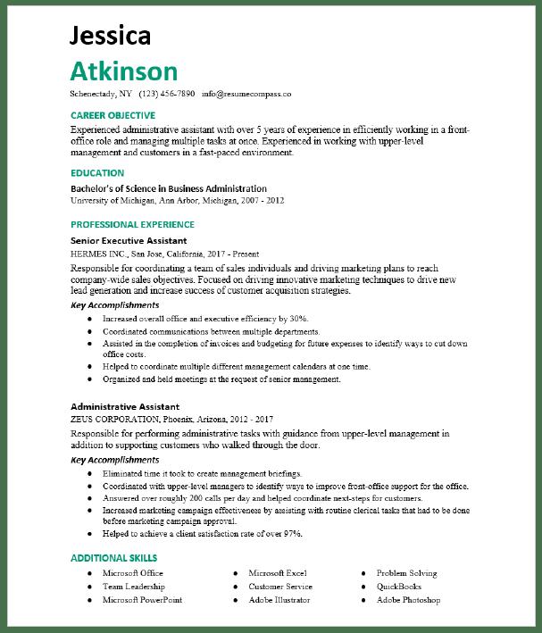 Senior Executive Assistant Resume Sample Resumecompass