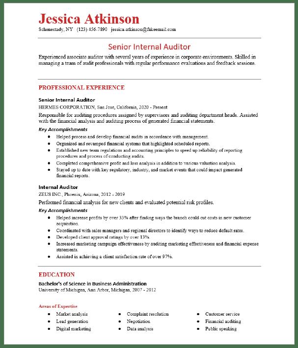 sample cv for internal auditor  senior internal audit