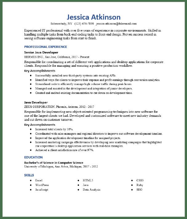 Senior Java Developer Resume Sample Resumecompass