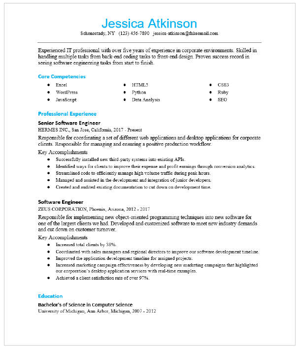 Senior Software Engineer Resume Sample Resumecompass