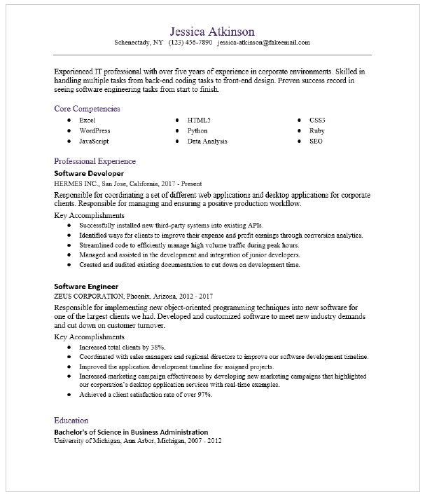 Software Developer Resume Sample Resumecompass