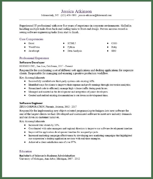 Software Engineer Resume Sample Resumecompass