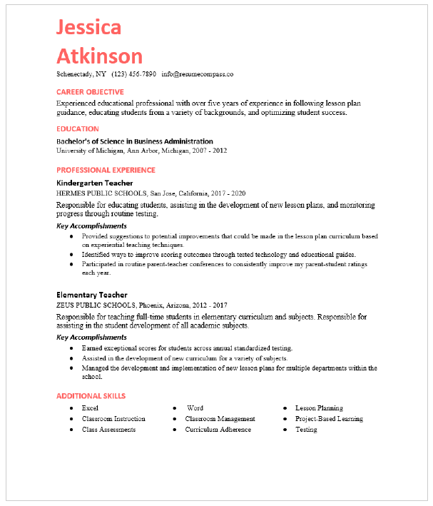 Education Resume Examples And Resume Samples Resumecompass