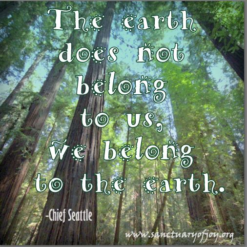 The earth does not belong to us; we belong to the earth