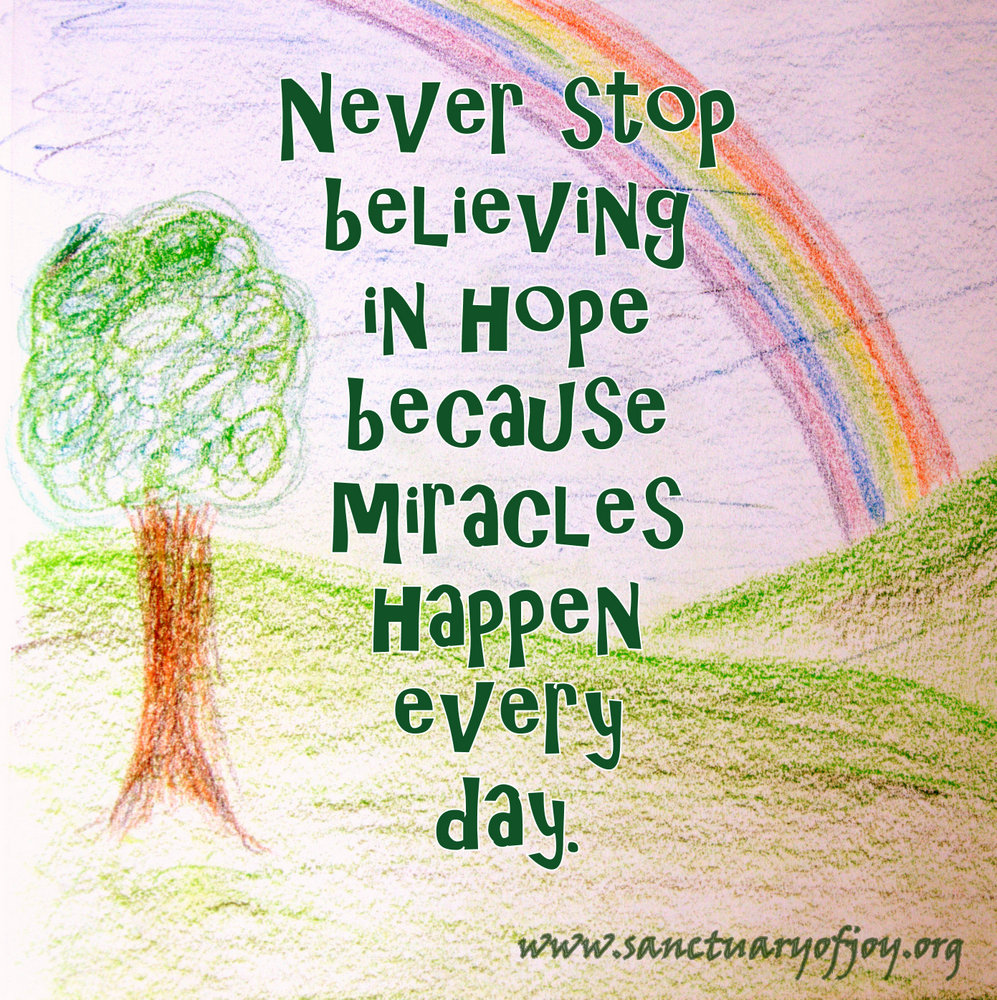 Never stop believing in hope because miracles happen every day