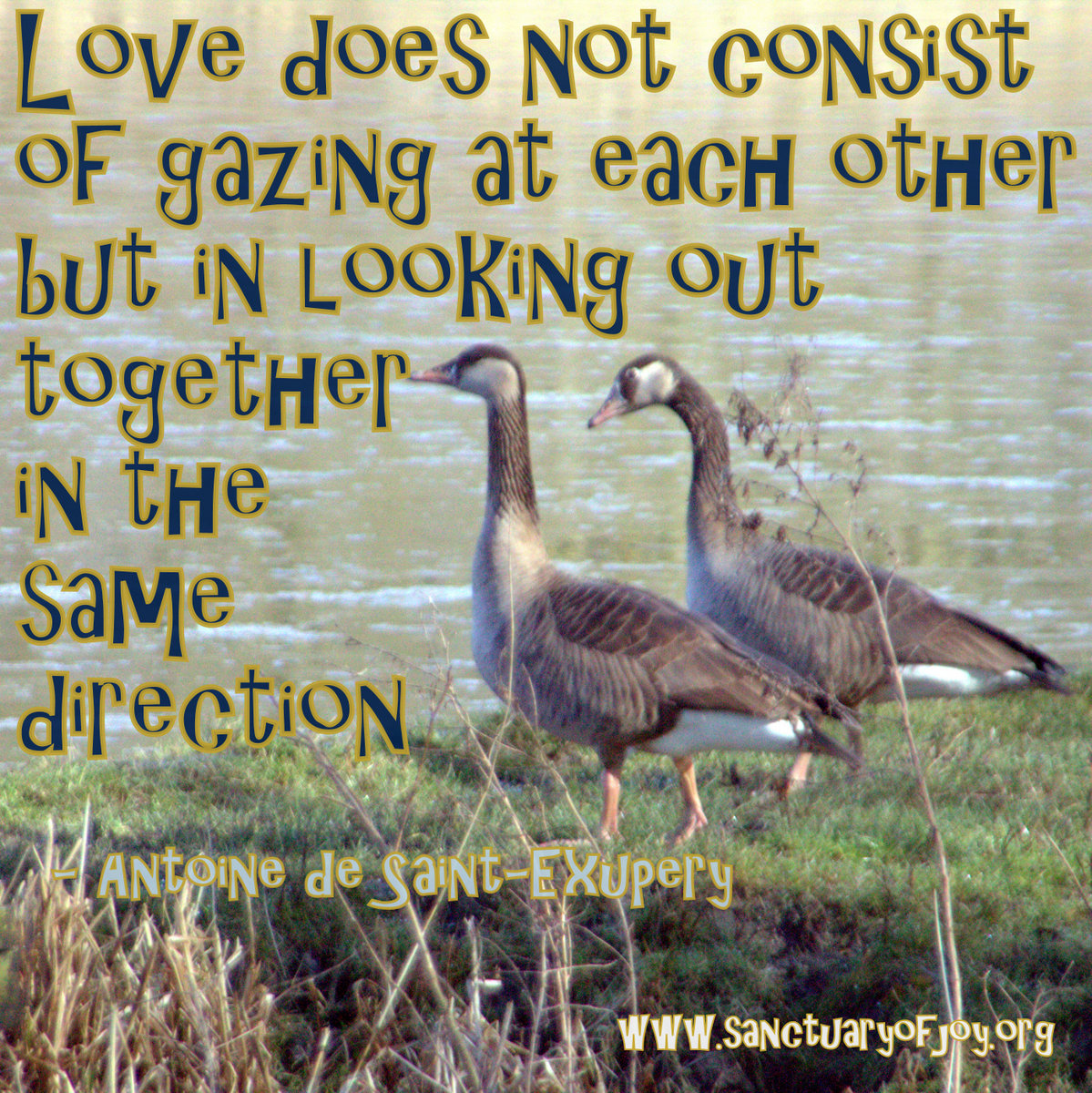 Love does not consist of gazing at each other but in looking out together in the same direction